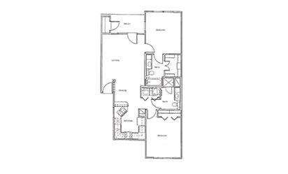 Villas B3 - 2 bedroom floorplan layout with 2 bath and 982 square feet