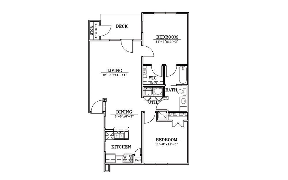 Dunes - 2 bedroom floorplan layout with 1 bath and 892 square feet (1st floor 2D)
