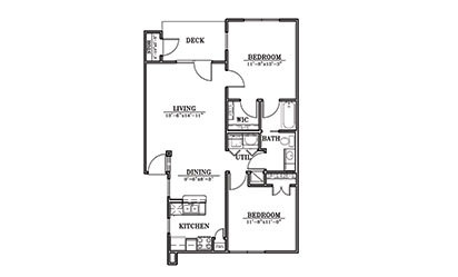 Dunes - 2 bedroom floorplan layout with 1 bath and 892 square feet