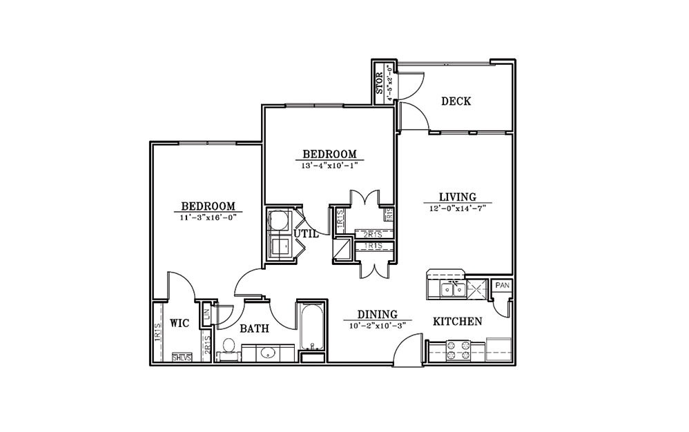 Lighthouse - 2 bedroom floorplan layout with 1 bath and 951 square feet (1st floor 2D)