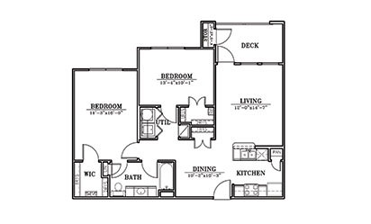 Lighthouse - 2 bedroom floorplan layout with 1 bath and 951 square feet