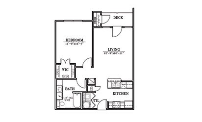 Pelican - 1 bedroom floorplan layout with 1 bath and 713 square feet