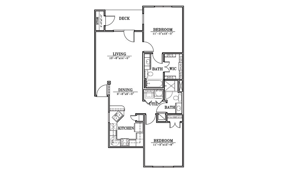 Sand Dollar - 2 bedroom floorplan layout with 2 bath and 983 square feet (1st floor 2D)