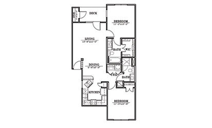 Sand Dollar - 2 bedroom floorplan layout with 2 bath and 983 square feet