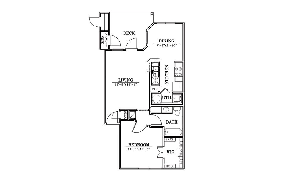 The Pier - 1 bedroom floorplan layout with 1 bath and 702 square feet (1st floor 2D)